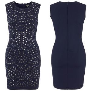 Topshop Mirror Studded Bodycon Dress Navy Blue